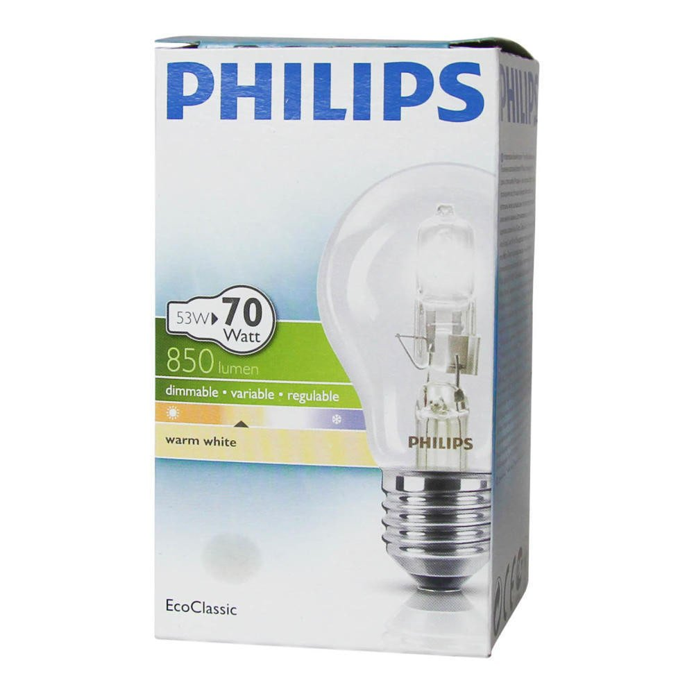 2000 heures Philips 53/W Ampoule halog/ène EcoClassic30 A55 E27